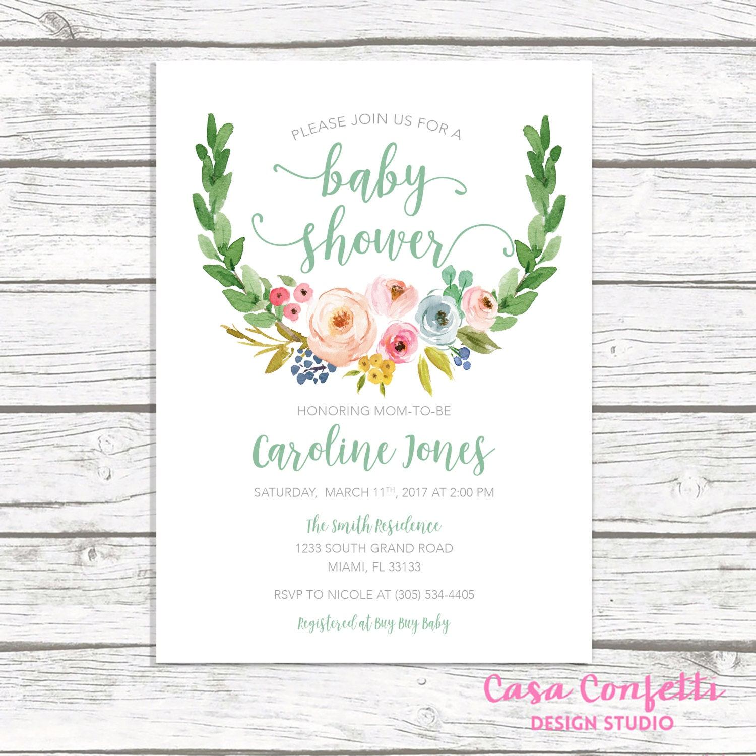 Gender Neutral Baby Shower Invitation Green Baby Shower
