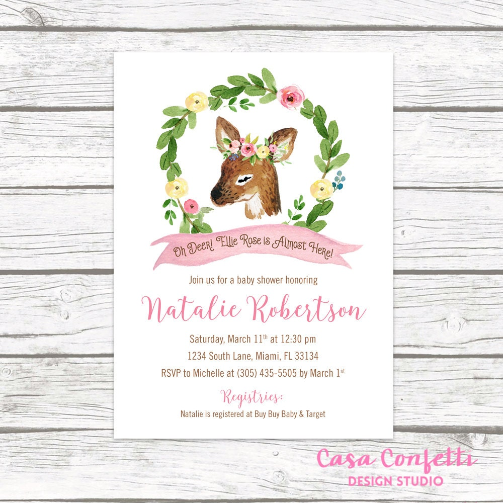 deer baby shower invitation, woodland baby shower invitation girl, Baby shower