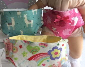 SET OF THREE Diapers Fits My Bitty Baby and Other 15 inch Baby Dolls