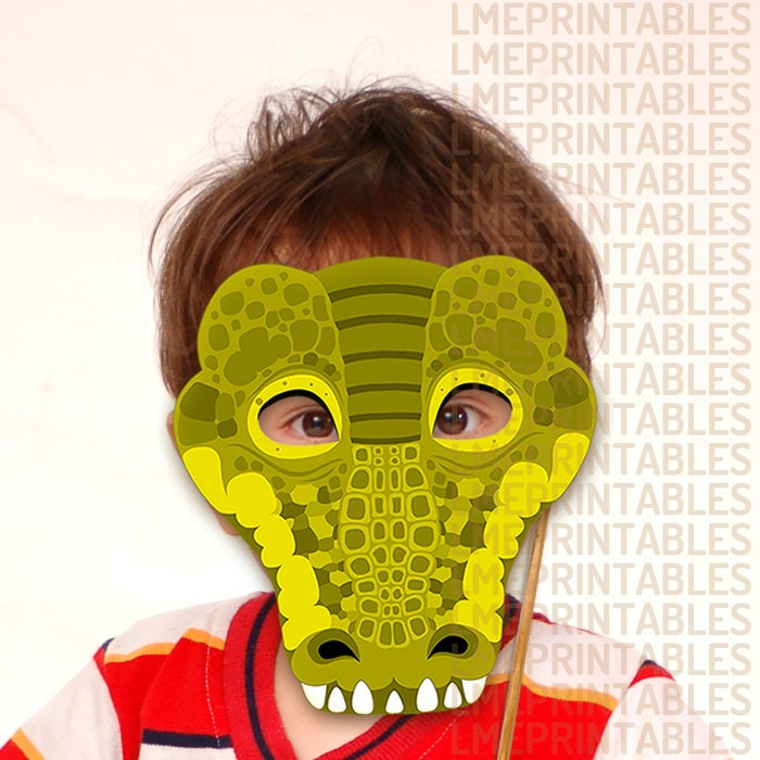 crocodile printable mask reptile green diy animal masks booth