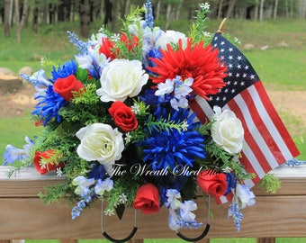FREE SHIPPING, Patriotic Cemetery Saddle, American Flag Tombstone Topper, Artificial Cemetery Flowers, Memorial Day Saddle, Headstone Topper