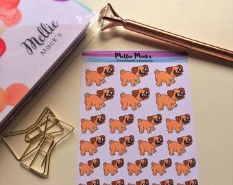 PUG PET DOG Sad Pug Planner Stickers for Erin Condren, Plum Paper, Happy Planner, Kikki K