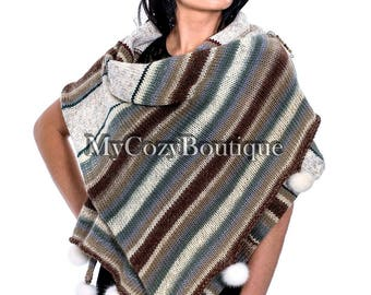 Gift to wife | Hand knit wrap poncho shawl - Winter wool blanket scarf - Hand knitted extra large wrap - wool blanket shawl