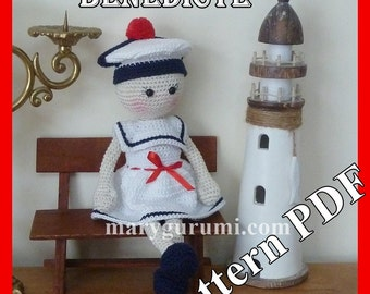 "Crochet Pattern, pattern, tutorial, Amigurumi Doll ""Sailor"" Benedicta"