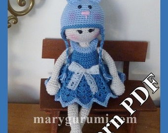 "Crochet Pattern, pattern, tutorial, Amigurumi doll, Bénédicte ""Rabbit"""