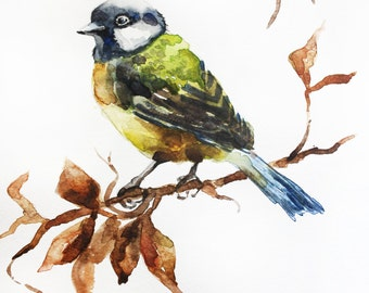 Original of Watercolor Painting, Bird art, tit watercolor, home decor, Tit art, small titmouse, titmouse watercolor, animal,  Art OOAK
