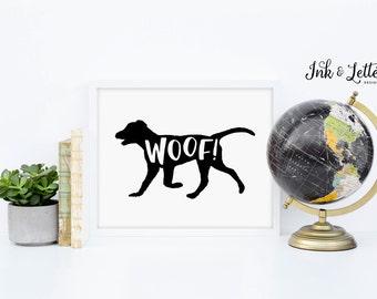 Dog Printable - Woof Print - Animal Print - Animal Sounds - Animal Nursery - Black Lab - Black and White - Instant Download - 8x10