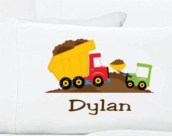 Personalized Dump Truck Pillow Case Construction PillowCase