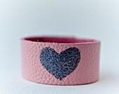 Girls Heart Bracelet, Little Girl Gifts, Baby Girl Valentines Day Gift, Little Girl Bracelet, Leather Bracelet, Toddler Gift, Pink Bracelet