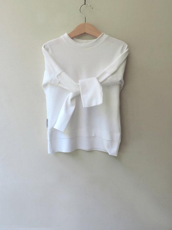 White Organic Sweatshirt, Toddlers Boys Girls White Sweatshirt, Kids And Baby Sweatshirt, Hipster Toddlers Clothing - By PetitWild