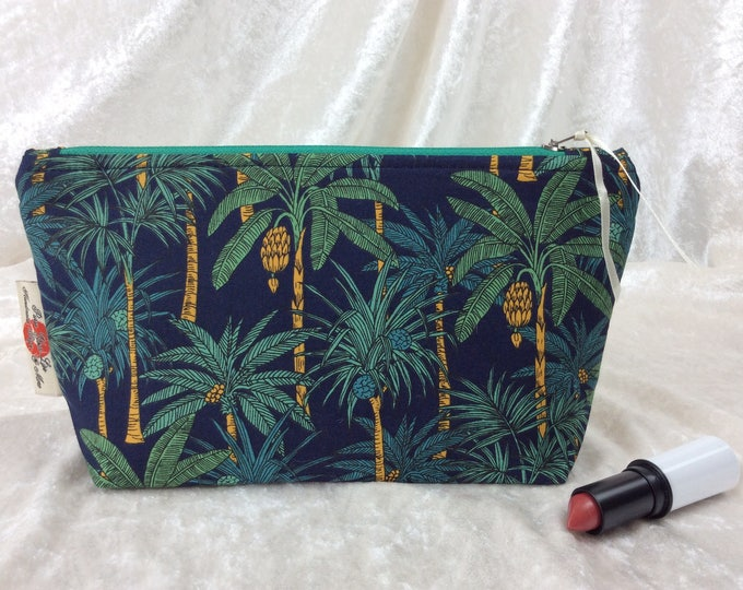 Palm Trees Zip Case Bag Pouch fabric Handmade in England