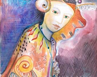 "Goddess series ""Feathered Goddess""  Art Print of original watercolor"