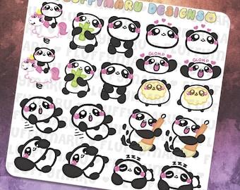 Panda Deco Sticker Set || Planner Stickers, Cute Stickers for Erin Condren (ECLP), Filofax, Kikki K, Etc. || DS17