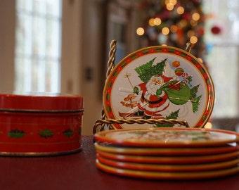Set of 6 Tin Santa Coasters/Skiing/Santa Skiing