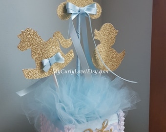 Boy Baby Shower Centerpiece/Gold and Baby Blue Baby Shower Centerpiece/Silver and Blue Baby Shower Centerpiece/Boy Baby Shower Centerpiece