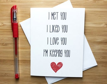 Cute Love Card, Anniversary Card, , Love Greeting Cards, Greeting Card, Just Because, Romantic Card, I Love You, For Husband, For Wife