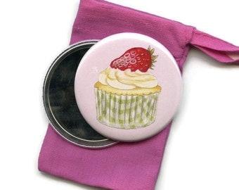 Cupcake Pocket Handbag Mirror in Cotton Drawstring Gift Bag Cake Baking Gift