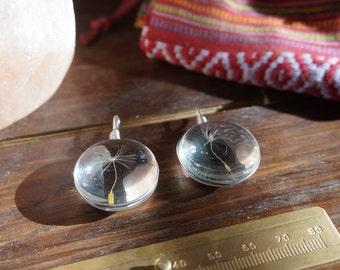 Real Dandelion glass pendant