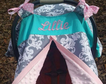 Practical gift etsy personalized girl carseat canopy custom carseat cover pink and teal pink and gray negle Images