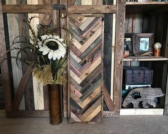 Rustic Herringbone Wood Wall Art