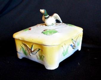 Men's Caddy Valet, Covered Ceramic, Mid-Century, Dresser or Desk Organizer, Duck Pond Motif