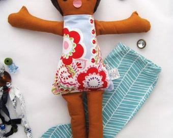 Cloth Doll Mermaid, Dress up Rag Doll, Mermaid rag doll, Removable Tail, dolls handmade, Soft Brown Hair girl / Poupee de chiffon, Sirene