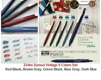 5 Colors Set no case Zebra Vintage Limited Edition 0.5 Gel Ink