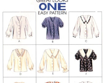 90s McCall's 7360 Nine Front Buttoned Blouses with Collar and Sleeve Variations, Uncut, Factory Folded, Sewing Pattern Size 8-12