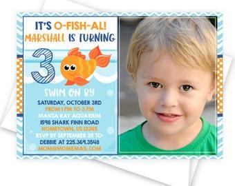 Goldfish Party Printable Photo Invitation, Custom Printed Party Invitation or DIY Fish Bowl Party Invitation, Fish Birthday Party Invitation