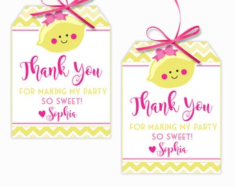 Personalized Lemon Party Printable Hang Tags, Lemonade Party Custom Thank You Tags, Lemon Party, 3x4 Gift Tags