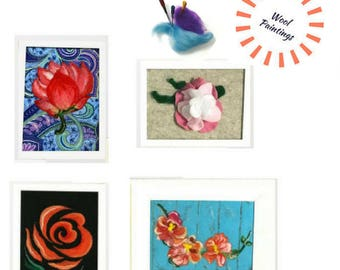 ORIGINAL Wool Paintings,Floral Connection of Needle Felted Art.