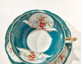 Teal Blue Teacup and Saucer | Vintage Grase Floral Teacup and Saucer