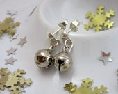 SALE Jingle Silver Bells Christmas Silver Plated Hook Stud Drop Earrings with Butterfly Backs.