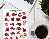 Cute Ladybirds Planner Stickers | Red Ladybirds | Ladybirds Stickers | Floral Stickers | Insects Stickers (S-257)