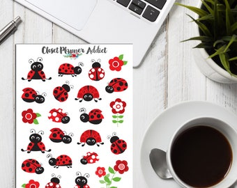 Cute Ladybirds Stickers | Red Ladybirds | Ladybirds Stickers | Floral Stickers | Insects Stickers (S-257)