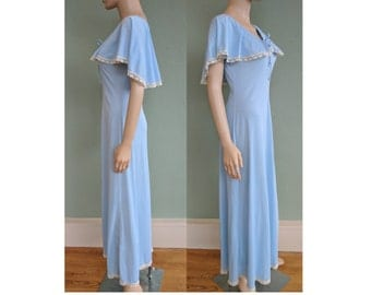 1950s Long Blue Cape Night Gown, Vintage Capelet Nightie w/ Lace Trim, Mad Men Nylon Nightgown Lingerie, Honeymoon Gown, Size Small