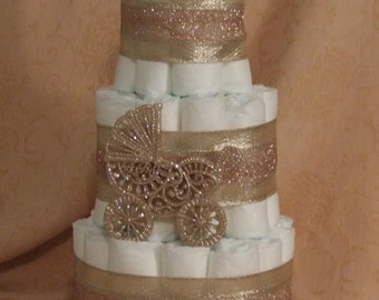 Baby Shower Centerpiece Rose Colored Baby Carrage 3 Tier Diaper Cake