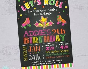 Roller Skating Invitation   Roller Skating Party   Skate Party   Neon Skate Party   80s Party   Printable Invitation   The Party Darling