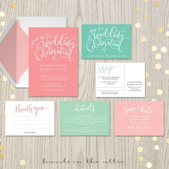 Coral mint wedding invitation kits suites sets salmon blush pink