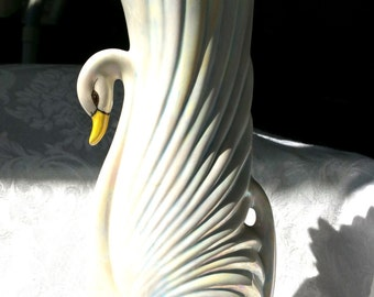 Vintage California Swan Vase, Lustreware Swan Vase, Vintage Lusterware Vase, Swan Centerpiece, California Bird Vase, Planter