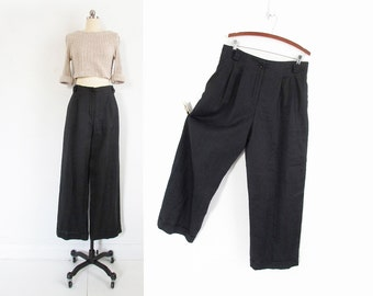 vintage black linen pants, 90s minimal wide leg trousers - womens xl / 34 inch waist