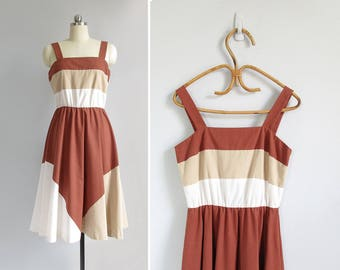 vintage 70s sundress / striped cotton summer dress / sleeveless sun dress / womens S