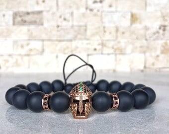 Mens Spartan Bracelet, Mens Onyx Bracelet, Knight Bracelet, Bracelet For Men, Helmet Bracelet, Spartan Bracelet, Gladiator Bracelet, Gold