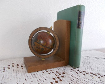 Vintage Wood Globe Bookend Farmhouse Man Cave Den Ranch Home Office Living Room Kitchen Home Decor Gift Him Her