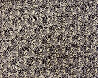 "Designer Fabric, Black Paisley Print, Cotton Fabric, Decor Fabric, Sewing Craft, Dressmaking Fabric, 43"" Inch Fabric By The Yard ZBC7161B"