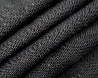 "Black Burlap, Black Jute Fabric Natural Fabric, Home Decor Burlap Fabric, Sewing Craft, 61"" Inch Wide Jute Fabric By The Yard ZJC10A"