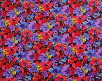 "Designer Fabric, Multicolor Floral Print, Sewing Fabric, Home Accessories, Apparel Fabric, 45"" Inch Rayon Fabric By The Yard ZBR180B"