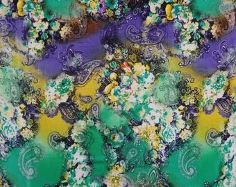 """Home Decor Fabric, Multicolor Floral Print, Green Fabric, Dress Material, Craft Fabric, 45"""" Inch Rayon Fabric By The Yard ZBR169A"""