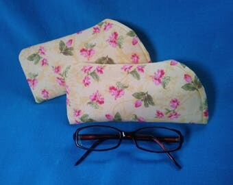 Glasses Case, Romantic Pink Yellow Flower Fabric, Spectacle case, Optical case, For sunglasses and reading glasses, Padded inside, Handmade