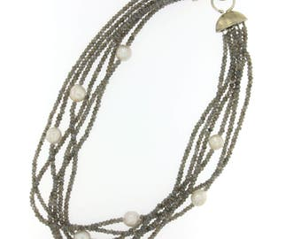 Mystic Labradorite and Fresh Water Pearl Multi-strand Necklace with Sterling Silver Clasp